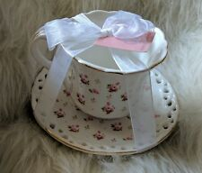 Grace's Teaware Pretty Shabby Cup and Saucer White Roses Floral pink Gold Trim
