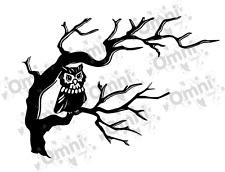 2x Owl On Tree silhouette / Branch - Wall / Tile / Laptop- Vinyl Decal / Sticker