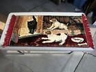 "Vintage Tapestry Cat Dogs bone dish 40"" X 19 1/2"" plus 2 1/2"" tassel both sides"