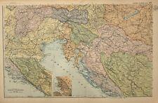 1908 MAP SOUTH WEST AUSTRIA HUNGARY DALMATIA HERZEGOVINA TRIEST BOSNIA