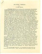 DR. WATSON - AMERICAN by RE Roberts, rare US photocopy Sherlock Holmes article