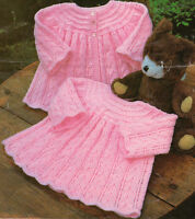 "Pretty Scalloped Edge Baby Matinee Coat & Dress ~ DK & 4 Ply 16"" ~ 20"" To Knit"