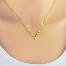 Deer Antler Pendant Necklace Gold Hunting Hunt Hunter Deer Doe