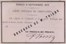 Carte de circulation. Obsèques de M. Thiers. 1877
