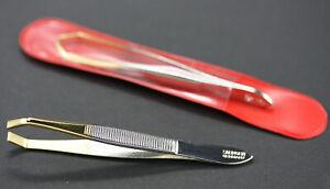 Zupfpinzette abgewinkelt vergoldet Augenbrauen entfernung Pinzette Solingen 8 cm