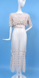OPULENT EDWARDIAN FLORAL LACE AND SILK CHIFFON DRESS W TASSEL ROSETTE SIDES
