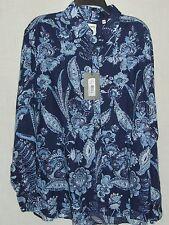 BAIRD McNUTT Murano Blue Navy Floral LINEN Long Sl Shirt - L - NWT