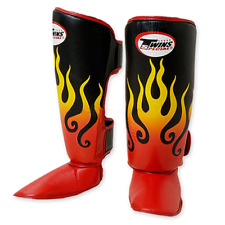 Muay Thai MMA Kickboxing Flame Shin Guards XL by Twins MADE 09/10 FSG-7