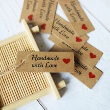 100 Pcs Craft Paper Tags with Handmade Love Hang Tags for Packing Label Cards