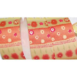 "Flower Print Grosgrain Ribbon Hot Pink Orange or Yellow 1.5"" or 7/8"" 5 Yards"