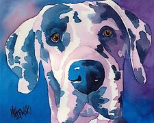 Great Dane Dog Art Print Signed by Artist Ron Krajewski Painting 8x10 Harlequin