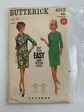 "Vintage Butterick Sewing Pattern 4312 Easy Patterns Pcs. Sz:18 B:38"""