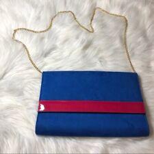 H&M Womens Blue Velvet with Pink Vinyl Strip Clutch Bag Handbag