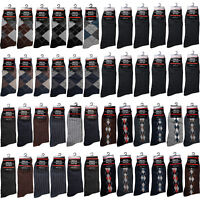 12 Pairs Mens Cotton Work Crew Fashion Casual Dress Socks Size 10-13 Multi Color