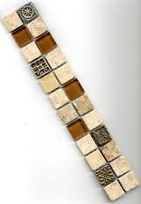 Mosaikbordüre Jura Marmor beige / braun mit Ornamenten Fliese Platte Naturstein