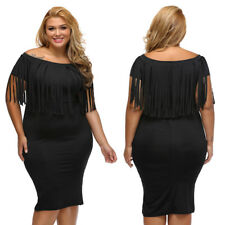 Plus Size Off Shoulder Fringe Top Slim Midi Casual Cocktail Evening Party Dress