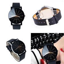 Black Men Women Leather Strap Line Analog Quartz Ladies Wrist Watches Fashion