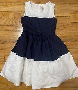 Gymboree Girls Kids Navy Blue & White Colorblock 100% Cotton Dress Size S