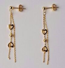 18 Ct Oro Amarillo Corazón Gota Dangly Pendientes 1.85g * Nuevo * Novia Regalo de Navidad 18k