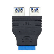 Motherboard 2 Ports USB 3.0 A Female to 20 Pin Header Connector Adapter BlackFE#