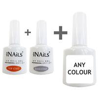 Miss Nails® 3 Pack TOP and BASE COAT + 1 COLOUR UV LED Nail Gel Soak Off Polish