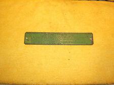Mercedes W114 1974 280C under hood METAL California Emission 1 Plaque,1105840721