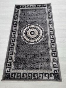 Quality Rug Grey Black 80 x 150 cm Soft Touch Living Room Turkish Carpet Rugs