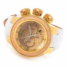 INVICTA WOOD SEA DRAGON RESERVE 52MM GOLD/BLOND WOOD, WHITE LEATHER STRAP 22941