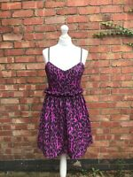 Asos Purple Leopard Print Dress Size 12 Skater Dress Strappy Fit And Flare B11