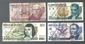 Mexico 🎇 1992 1994 2000 2002  🎇 10 Nuevos pesos 20, 50, 200 pesos 4 banknotes