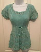 Vintage Bay Studio Teal ribbed knit round Neck Top size PL