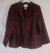 Susan Graver Style Womens XL Red Maroon Sequin Floral Button Coat Jacket - GG306