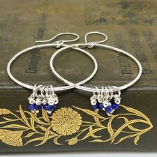 Lapis Lazuli Sterling Silver Big Hoop Earrings Hammered Handmade
