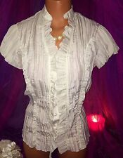 Ivory Crinkle Gauze Top Blouse Victorian Puff Button Shirt S