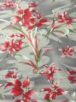 100% Cotton Quilting Craft Fabric Fabri-quilt Shimmering Bouquets Red Grey
