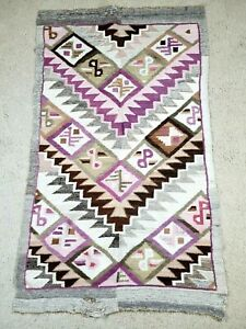 """Mexican Blanket Hand Woven Mat Bed Blanket Purple & Brown 58"""" L x 36"""" W"""