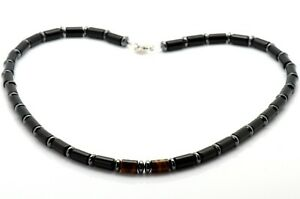Mens Bead Necklace Onyx Tiger's Eye Hematite 925 Sterling Silver Clasp Handmade