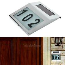 Solar Power Home Road Signs Number Doorplate LED Light Outdoor Garden Wall Lamp