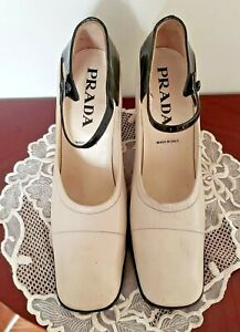 PRADA Authentic Women's Vintage Cream And Black Leather  Shoes Size 37 European