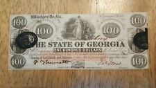 Crisp Jan. 15th 1862 Milledgeville Georgia $100 Dollar Note Currency (E233)