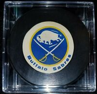 VINTAGE 1970s BUFFALO SABRES  HOCKEY PUCK Rawlings official game size Canada old