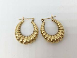 """14K Yellow Gold 1"""" Shrimp Style Hoop Earrings (3.73g)"""