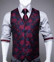 Mens Waistcoat Vest Tie Set Silk Pink Blue Black Paisley TUX Dress Wedding S M L