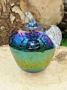 Neo Art Glass rainbow iridescent apple paperweight sculpture ornament K.Heaton