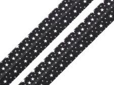 """Faltgummi """"Sterne"""" schwarz 15mm Falzgummi - elastisches Schrägband Einfassband"""
