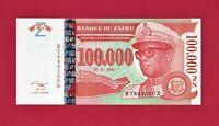 SCARCE ZAIR UNC NOTE: 100,000 100000 Zaire 1996 - NOUVEAUX BANKNOTE  - (Pick-77)