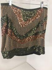 H&M WOMEN'S SEQUIN MINI SKIRT HUNTER GREEN/BLUSH/BRONZE US SZ 10 NWT $35