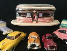 Ceramic Diner & 6 Cars Figurines Polished 1950's Home Decor Drive-In Coca Cola