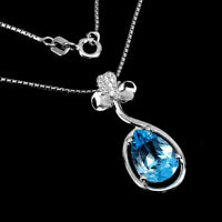 Pear Swiss Blue Topaz 12x8mm Cz White Gold Plate 925 Sterling Silver Necklace 18