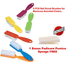 Nail Scrub Brushes for Manicure Assorted Multi-Color 6pcs 1 free Pedicure Pumice